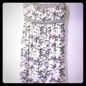 Mini strapless sundress white and grey